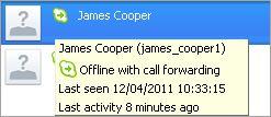 TIPS: Información adicional mostrada para un contacto con un estado Desconectado: opciones de desvío de llamadas, la fecha de la última actividad y el último chat contigo.