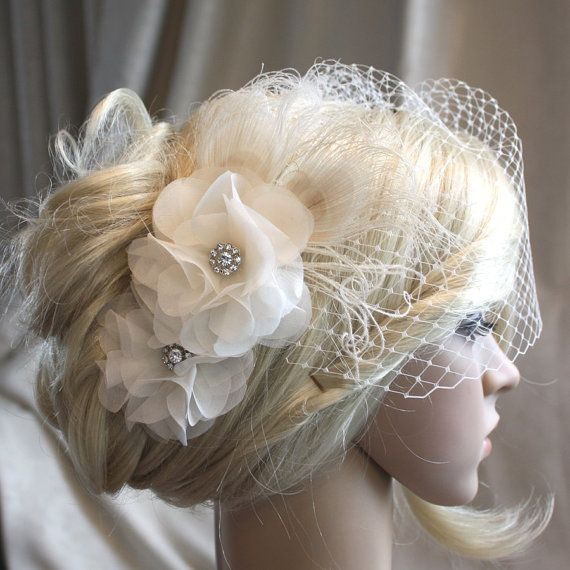 Ivory Silk organza flowers hair clip and birdcage veil ( 2 items) wedding reception bridal party
