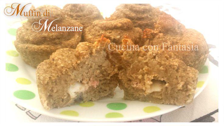 Muffin alle melanzane con prosciutto cotto e mozzarella