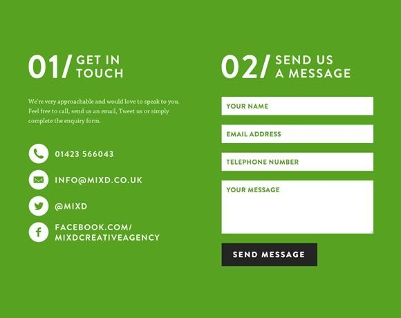 Website Contact Page - love the simplicity and bold use of color. Also love the organization of it all.