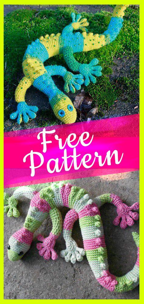 Free crochet gecko pattern #freeamigurumi