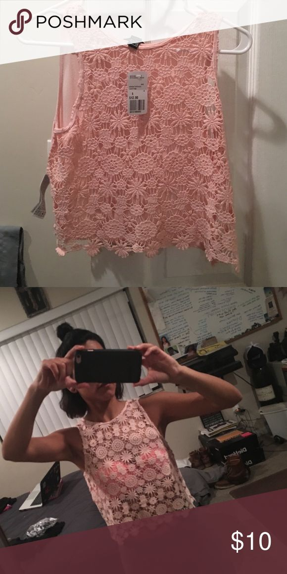 Cute summer shirt. Peach top layer crochet new with tags Tops Crop Tops