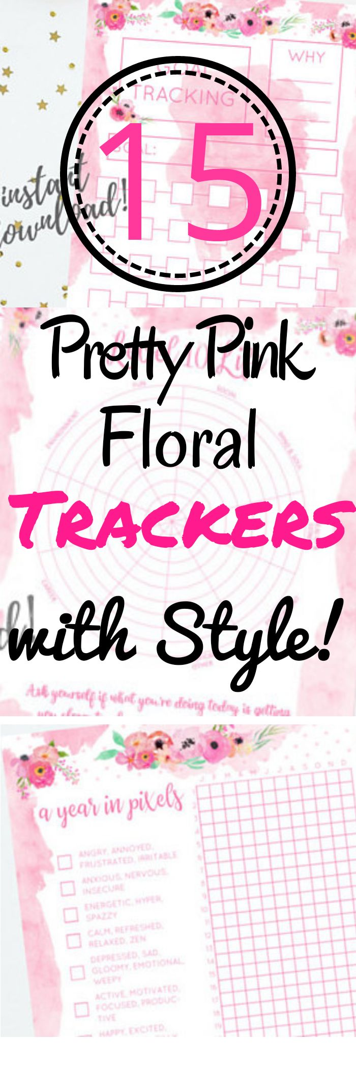 Looking for ways to track habits in your journal? Check out these pretty pink floral printable trackers to master your habits with style! Level 10 life tracker, mood tracker, year in pixels, lunar goals tracker, fail and hourly tracker #habittrackers #trackers #bulletjournals #ad #printable #planner #template #layouts #etsy #printables