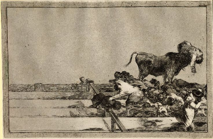 Image gallery: Desgracias acaecidas en el tendido de la plaza de Madrid, y muerte del alcalde de Torrejon (Dreadful events in the front rows of the ring in Madrid and death of the mayor of Torrejon) / La Tauromaquia - Plate 21: elevated view over stand at edge of arena, with bull in ring goring figure on horns, others laying dead in rows at front; unrecorded post 1816 impression. 1816 Etching, burnished aquatint, lavis, drypoint and burin