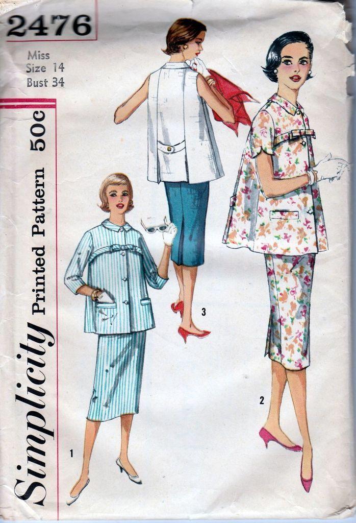 Simplicity 2476 Ladies Maternity Suit Dress Vintage Sewing Pattern 1950's
