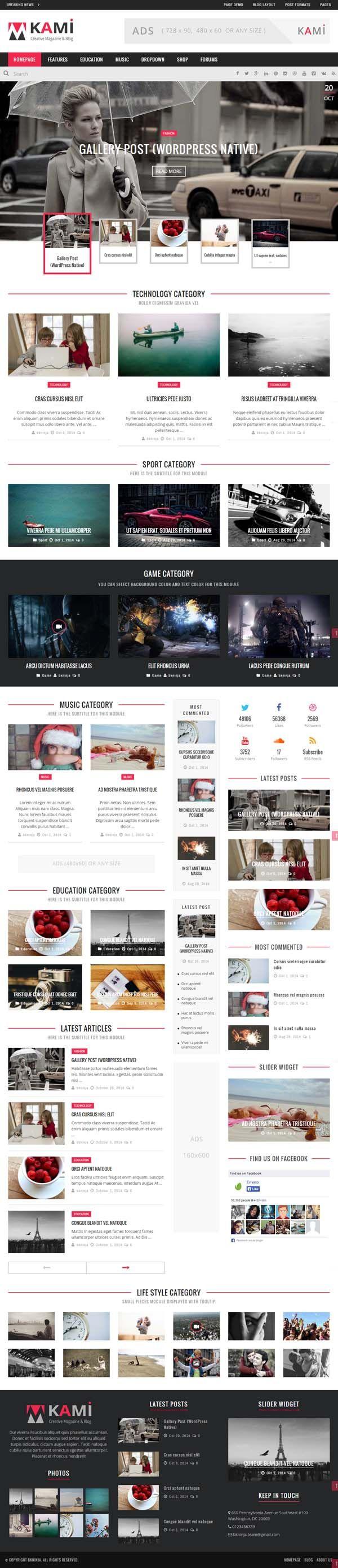 KAMI – Creative Magazine and Blog #html5wordpressthemes #masonrywordPressthemes #responsivewordpressthemes #wordpressthemes