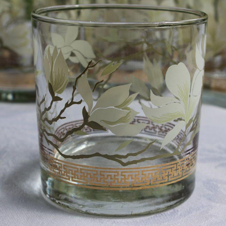Vintage Libbey Magnolia Blossom  Set of 8 Rocks Low Ball Cocktail Glass, Mid Century, Retro Barware by objectsofvirtu on Etsy