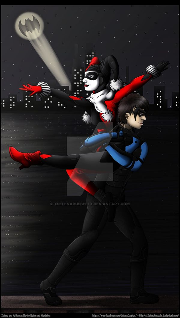 Harley Quinn and Nightwing - Escape Gotham by xSelenaRussellx   #harleyquinn #harleywing #nightwing #dickgrayson #graysonandquinn #cosplay #digitalart #dccomicsfanart #fanart #ship