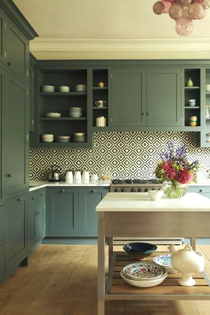 How gorgeous is the abovekitchen designed by London designer Flora Soames? Located in a Victorian townhouse in Notting Hill, the palette was inspired by a piece of art in the owner's collection. The Shaker style cabinetry was a collaboration with Quartet Interiors and is painted Farrow & Ball 'Down Pipe' with a memorable backsplash usingAshley …