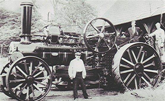 Frank Pratley Snr is seen here in front of his steam traction engine with his son Frank (middle) and his son-in-law Alan Vickery.
