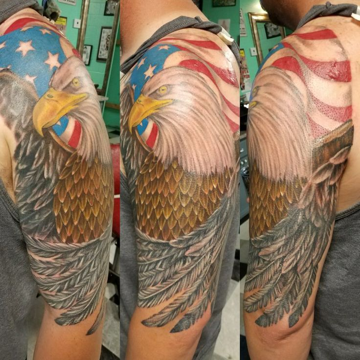 Tattoo by Greg Votaw  #tattoo #gregvotaw #inkdoneright #texas #american #eagle #coverup #flag
