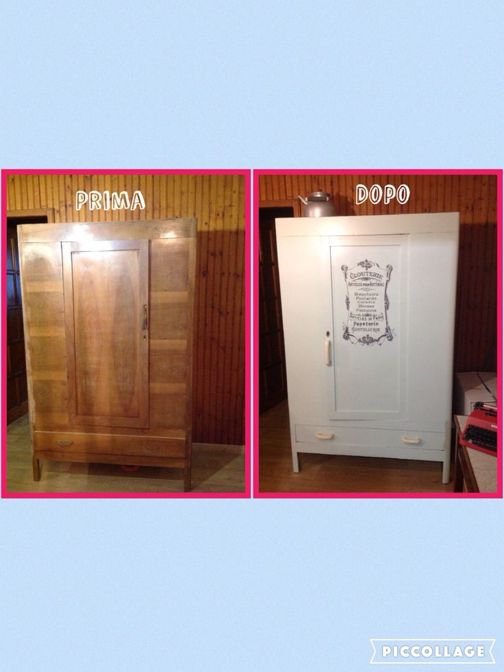 """An old closet before and after renovation, with a vintage image from """"the graphics fairy"""""""