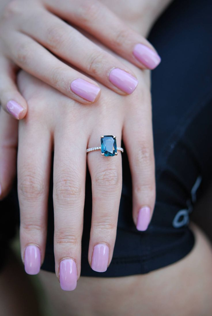 Peacock sapphire engagement ring. 3.12ct emerald cut blue green sapphire ring diamond ring 14k Rose gold ring by Eidelprecious.