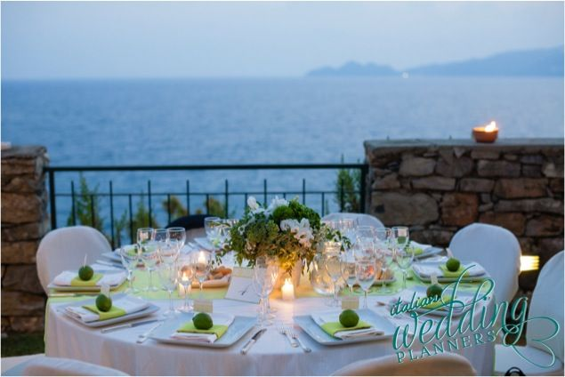 Setting up your wedding reception on the terrace overlooking the sea would be perfect for an elegant alfresco dinner