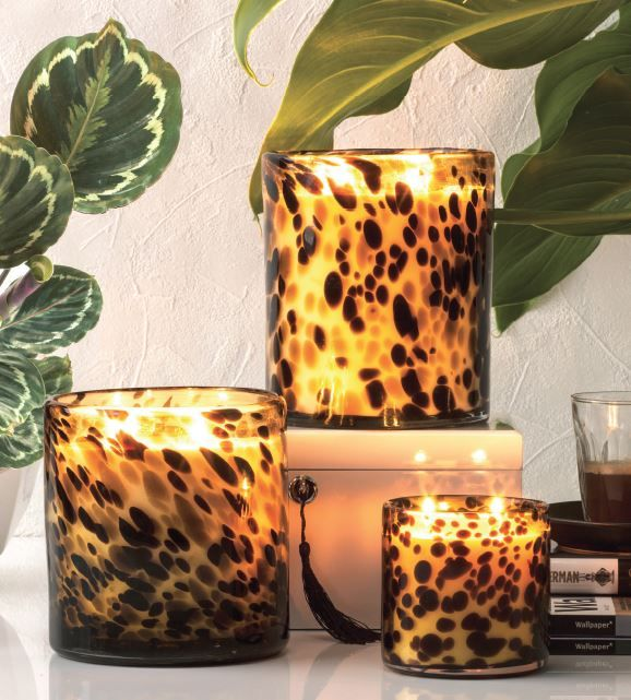 Luxury Candle 2.1Kg and 1.7kg Luxurious Statement candles in popular mouth blown glass designs each one is unique. Vesuvius - Sparking Citrus, Peach and Vanilla Halfeti - Black Rose, Violet and Musk at the General Store Furniture Co