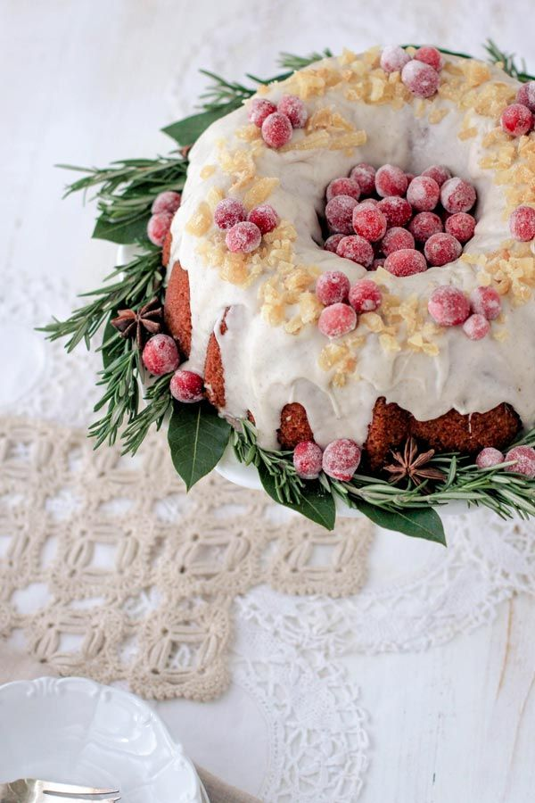 Cranberry, Ginger, and Coconut Bundt Cake