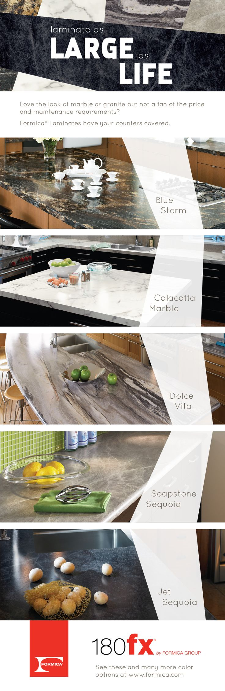 Love the look of marble or granite but not a fan of the price and maintenance requirements?  Formica® Laminates have your counters covered. Visit www.formica.com for free samples.