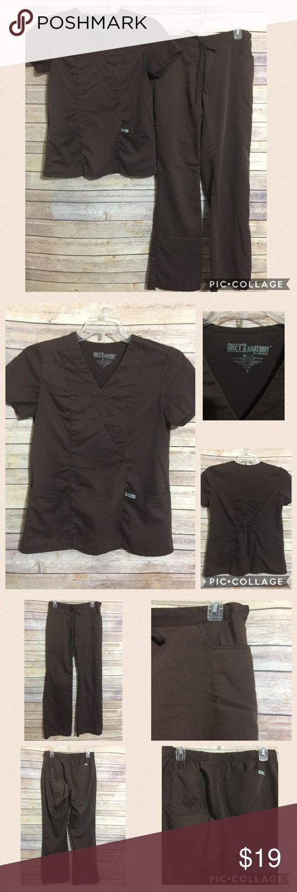 """Greys Anatomy Scrub Set Small Top Small Tall Pants Please notice Size of Top and pants   • Condition: Pant hems are slightly worn (see last pic)  • Color: Chocolate Brown  Measurements Laying Flat  • Top's Size- Small  • Top's Length - 24""""  • Top's Chest(around) - 38""""  • Top's Shoulder to Shoulder - 15""""  • Pants size - Small Tall  • Pants Waist (around) - 29""""  • Pants Rise - 9""""  • Pants Inseam - 31"""""""" Grey's Anatomy Other"""