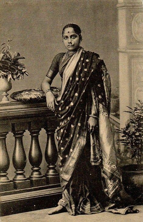 Marathi women in traditional Nauvari sari, India, 19th century.