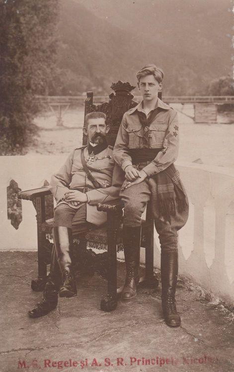 M.S. Regele Ferdinand si fiul acestuia, A.S.R. Principele Carol ai Romaniei