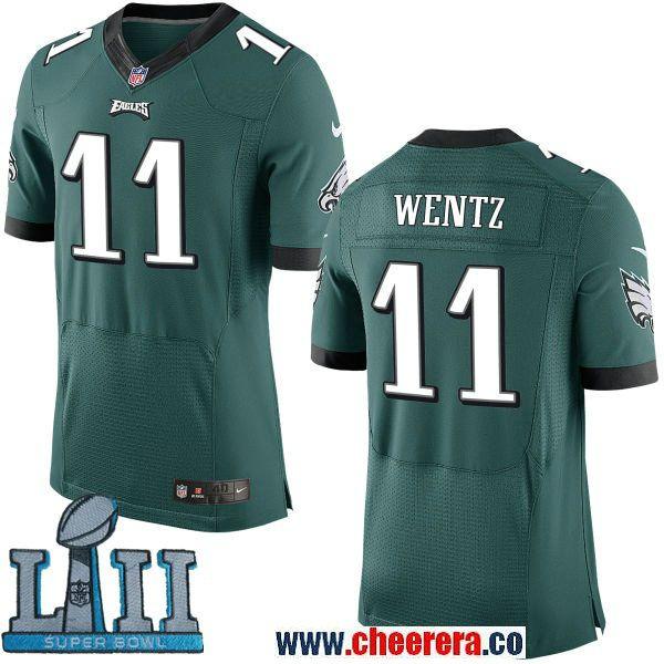 new style 6dd01 1a38a Nike Eagles 11 Carson Wentz Green 2018 Super Bowl LII Elite ...