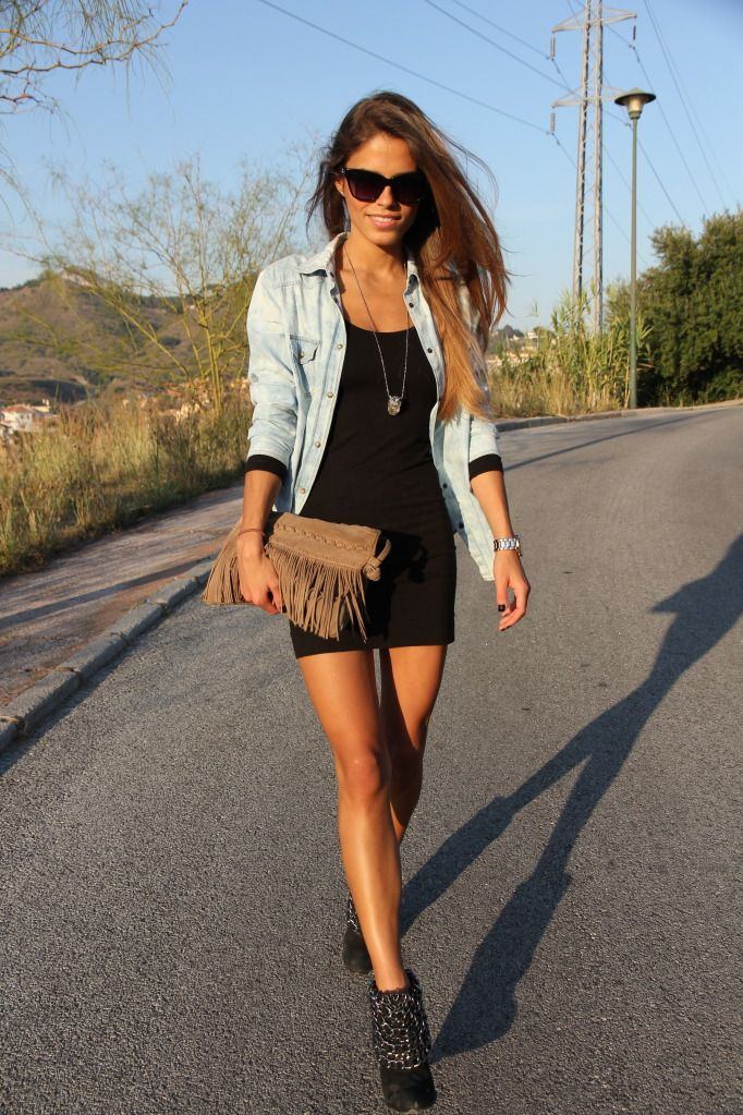 black dress with denim: Fashion, Casual Outfit, Style, Jeans Jackets, Clothing, Clutches, Chambray Shirts, Denim Shirts, Little Black Dresses
