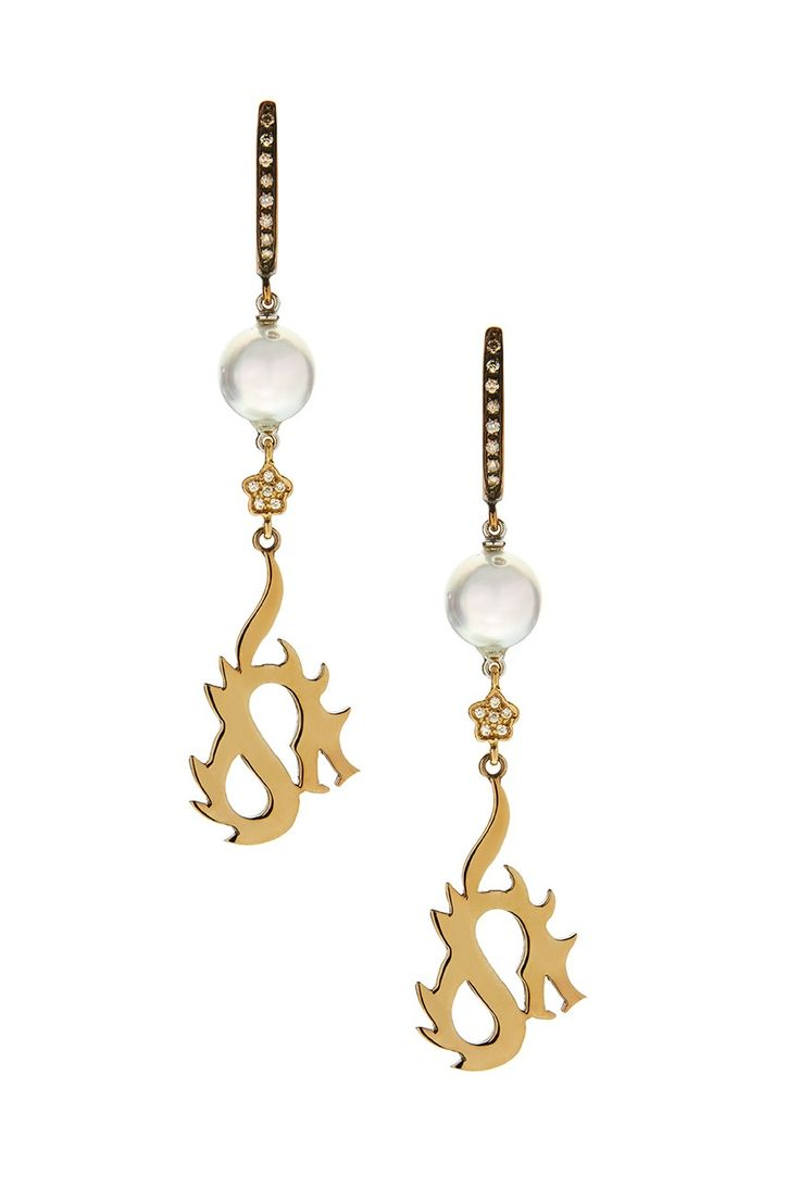Gold K18 White & Brown Diamonds Pearl