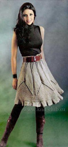 Вязаная юбка спицами на осень