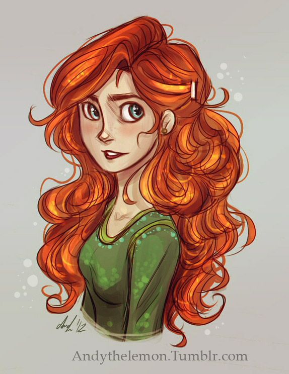 Merida Doodle by Andy the Lemon (a little bit girly for Merida, but still cool)