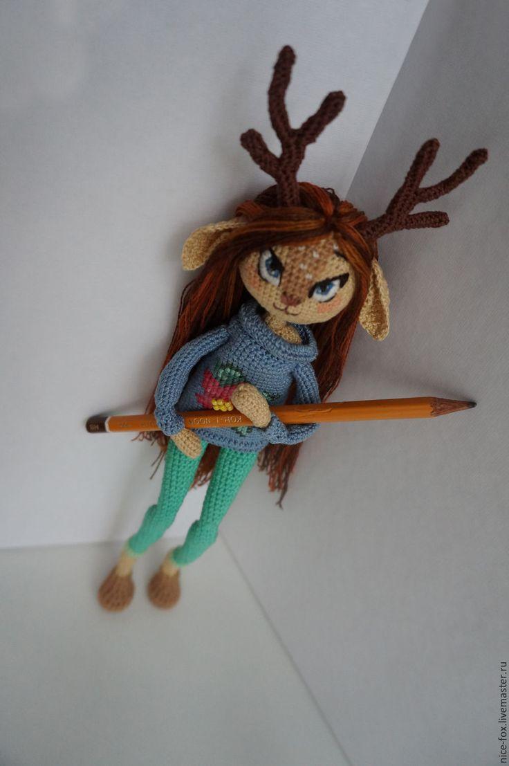 """Купить Вязаная кукла """"Аврора"""" - синий, вязаная кукла, девушка с оленьими рогами, crochet doll"""