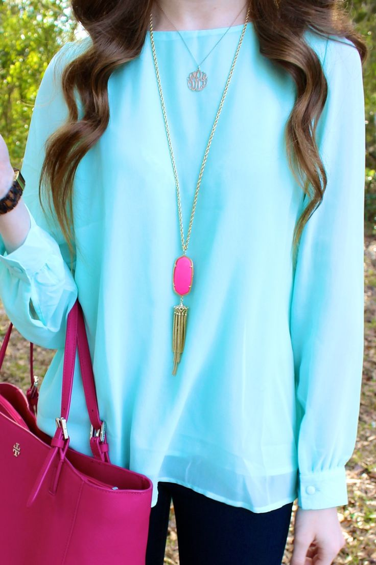 tiffany blue sheinside top, tory burch carnation red york tote / purse, pbteen monogram necklace, kendra scott magenta rayne necklace - from luckydayblog