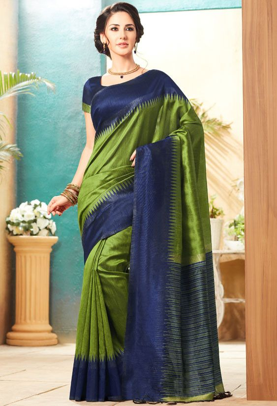c45a4885ad67e Lime Green and Midnight Blue Jute Silk Saree with Double Blouse ...