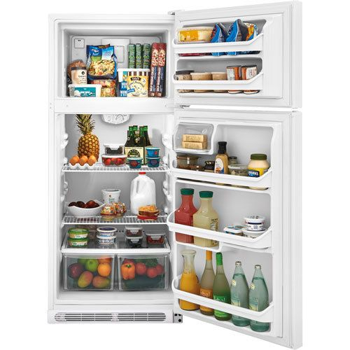 Frigidaire 18.2 CuFt Top Freezer Refrigerator | ON SALE $449.88  2 Sliding Full-Width SpillSafe Glass Shelves - Clear Deli Drawer - UltraSoft Doors & Handles  This Frigidaire 18.2 CuFt Top Freezer Refrigerator features SpillSafe Glass shelves. The fixed door bins have gallon storage capabilities. This model includes a dairy door, deli drawer, and 2 clear humidity controlled crispers. The UltraSoft doors and handles make accessing your refrigerator a breeze.