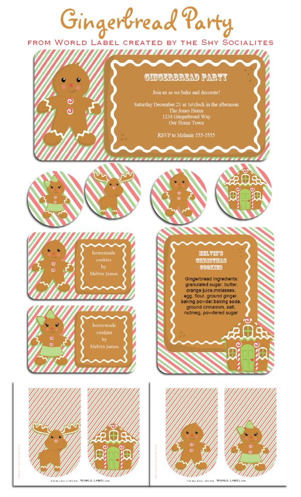 Free Printable Gingerbread Party Set with Labels by @Tricia Leach Leach-rennea Wilson