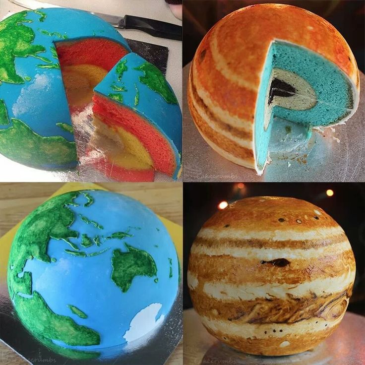 Planetary cakes: http://cakecrumbs.me/2013/08/01/spherical-concentric-layer-cake-tutorial/  Brilliantly beautiful!  Definitely something the husband would LOVE!