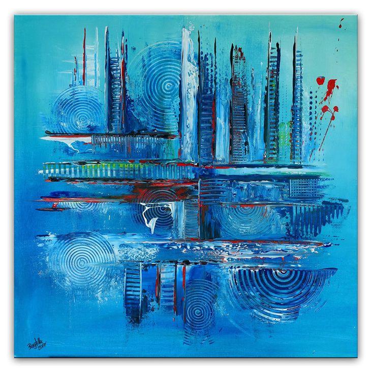 BURGSTALLER Original Bild Wandbild abstrakt Kunstwerk Unikat Malerei Eisblau