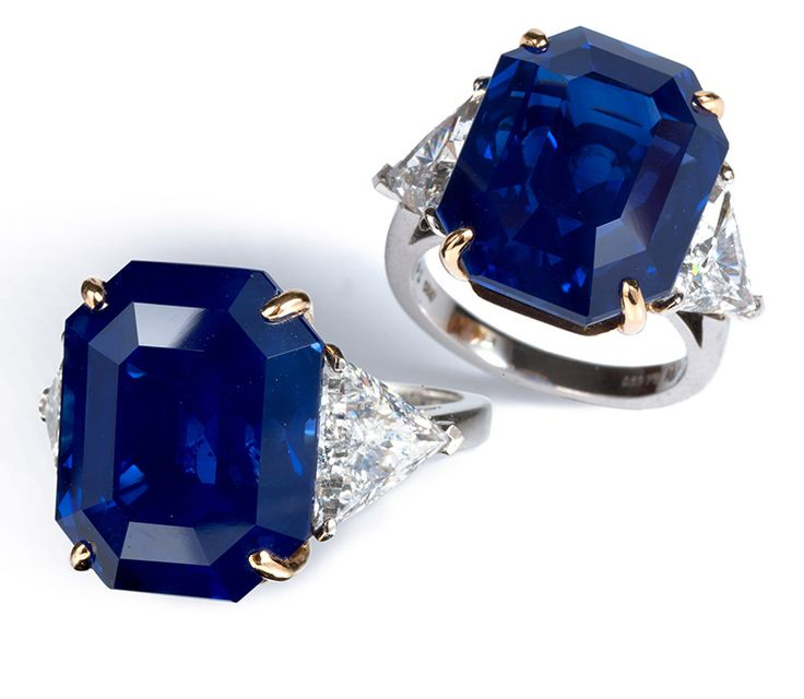 Bayco the Imperial Kashmir sapphire ring with trilliant diamonds