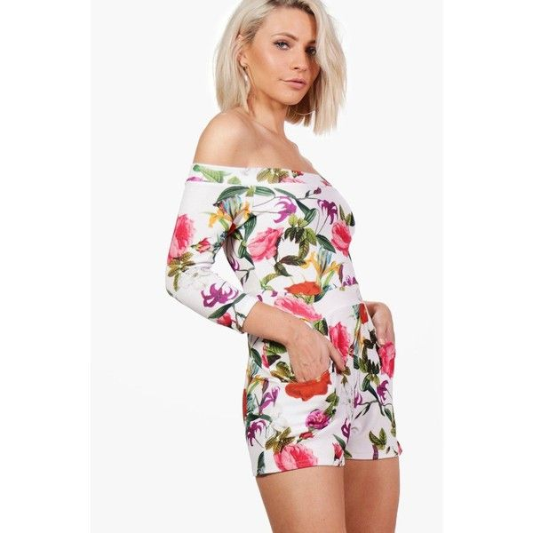 Boohoo Zoe Off Shoulder Printed Playsuit ($24) ❤ liked on Polyvore featuring jumpsuits, rompers, white off the shoulder romper, white rompers, playsuit romper, off the shoulder romper and white romper