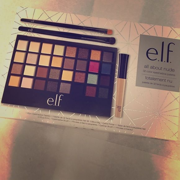 "Elf ""all about nude"" 32 color eyeshadow palette Beautiful eyeshadow colors ; eyelid primer ; & two brushes ! ELF Makeup Eyeshadow"