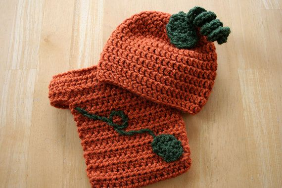 Newborn Pumpkin Set, Crochet pumpkin hat and diaper cover, baby pumpkin set, orange and green, Newborn to 12 Months, crochet photo prop on Etsy, $32.00