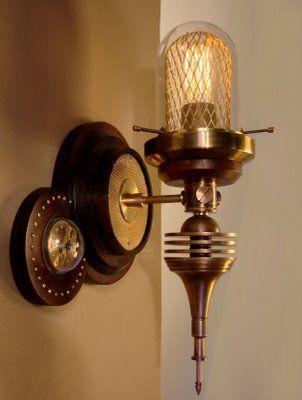 Cool steampunk sconce: Wall Lamps, Artdonovan, Steampunk Style, Art Donovan, Wall Sconces, Steampunk Lights, Steampunk Lamps, Art Deco, Steampunk Home