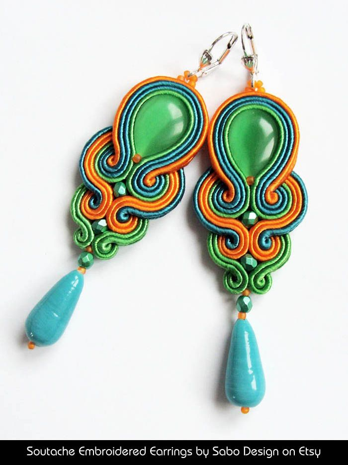 Soutache Embroidered Earrings