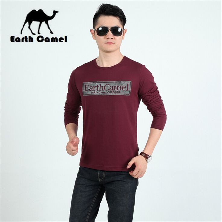 Earth Camel Wholesale Price Retail Good Quality Men's Autumn Full Sleeve T-shirt,Fashion Printed Letter Slim Thin Elastic TEES