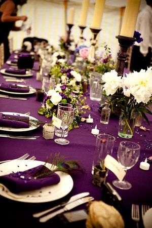 Beautiful wedding set up --- deep, amethyst purple and forest green