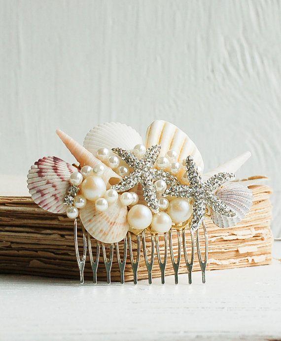 Bridal HAIR COMB Sea Shell Hair Accessory Beach