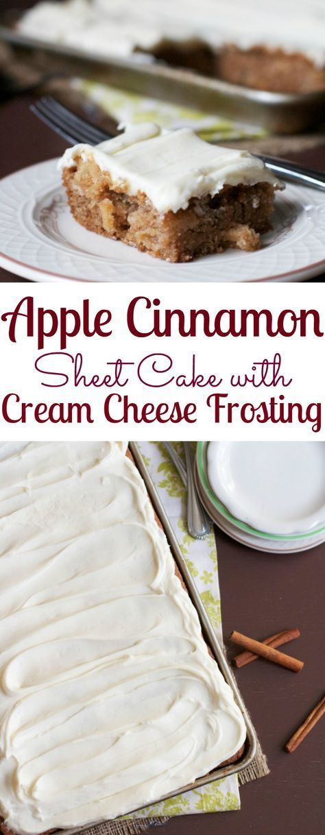 Apple Cinnamon Sheet Cake with Cream Cheese Frosting