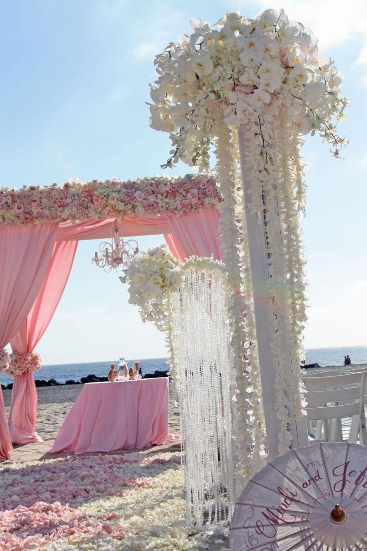 Pink flower canopy for a more formal beach wedding.: Decor, Wedding Ceremonies, Wedding Ideas, Beachwedding, Beach Wedding Photos, At The Beach, Beach Weddings, Pink, Flower