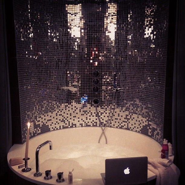 awesome tub: Discos Ball, Dreams Houses, Bath Tubs, Bathroom Heavens, Bathtubs, Mirror Tile, Ideal Bathroom, Tile Bathroom, Bath Time