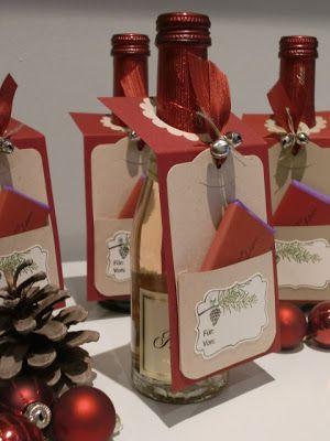 Ziemlich spontan ist mir die Idee für die Flaschenanhänger gekommen .... und da ich auch noch eine kleine Tafel Schokolade beifügen wollte, ...