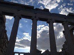 Grecia, Acrópolis, Columnas, Cielo, Azul